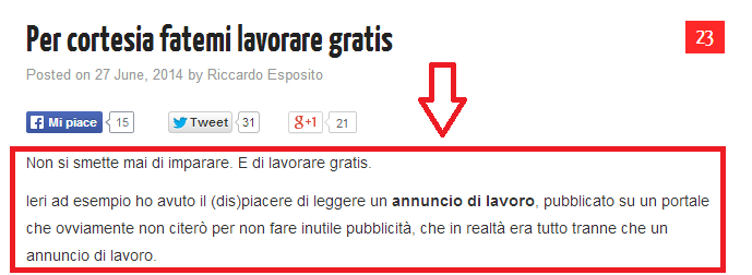 Incipit post di un blog