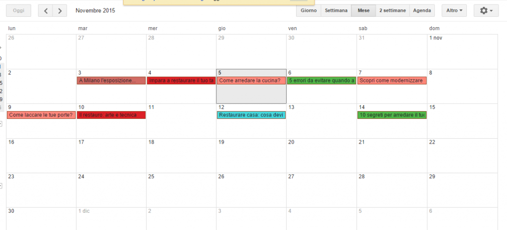 Calendario Editoriale Google per blog